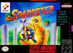 Sparkster SNES front cover